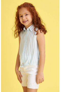 DeFacto Kız Çocuk Bağlama Detaylı Çizgili Kolsuz Gömlek(119061632)
