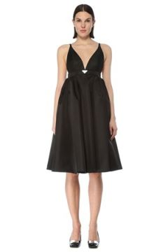 Prada Kadın Siyah V Yaka Beli Kemerli Mini Elbise 42 IT(127770261)