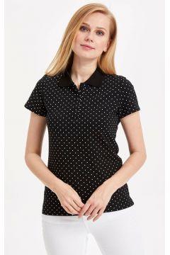 DeFacto Kadın Puantiye Desenli Polo T-shirt(108987375)