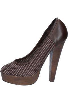 Chaussures escarpins Silvian Heach escarpins brun foncé cuir textile ax49(115443230)