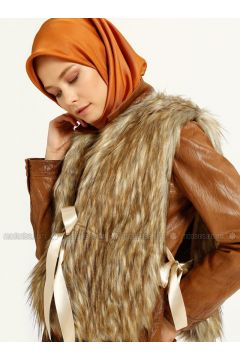 Brown - Tan - Unlined - Vest - MAKBUSH(110317422)