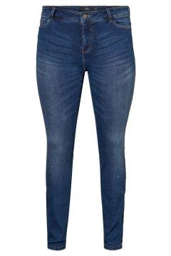 JUNAROSE Regular Waist Slim Fit Jeans Dames Blauw(114289907)