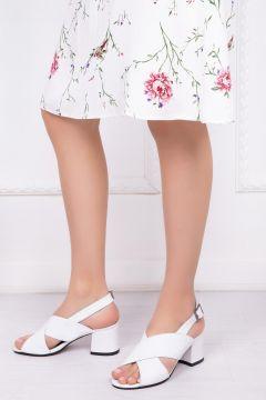 Deripabuc Hakiki Deri BEYAZ Kadın Topuklu Deri Ayakkabı(124965892)