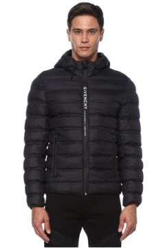 Givenchy Erkek Siyah Kapüşonlu Logo Detaylı Puff Mont 54 IT(121108516)