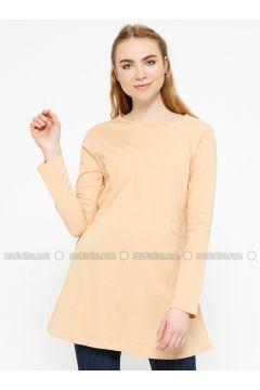 Brown - Crew neck - Cotton - Tunic - Meliana(110327093)