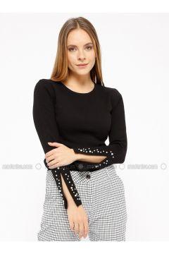 Black - T-Shirt - Koton(110323986)