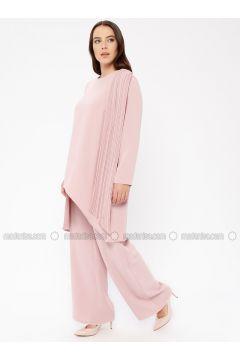 Powder - Unlined - Crew neck - Muslim Plus Size Evening Dress - Sevdem Abiye(110323337)