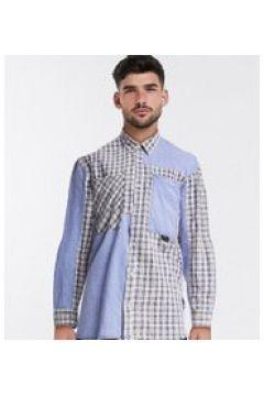 Reclaimed Vintage inspired - Camicia blu slavato a quadri lavaggio acido(121435270)