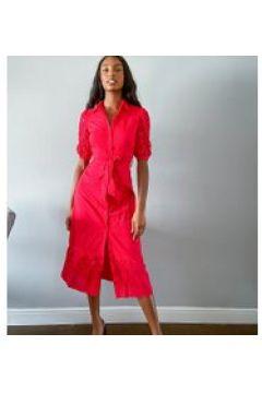 Fashion Union Tall - Vestito camicia midi con maniche in pizzo-Rosso(120330501)