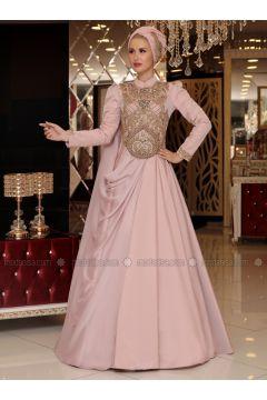Powder - Fully Lined - Crew neck - Muslim Evening Dress - Selma Sarı Design(110332915)