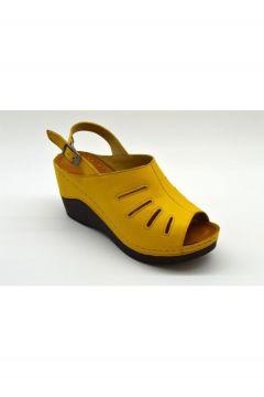PALOMA Kadın Hardal Saten Hakiki Deri Sandalet Plm-07-67-07(124151180)