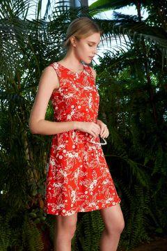 DeFacto Kadın Çiçek Desenli Beli Lastikli Örme Elbise(119060698)