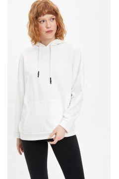 DeFacto Kadın Relax Fit Kapüşonlu Basic Sweatshirt(119060822)