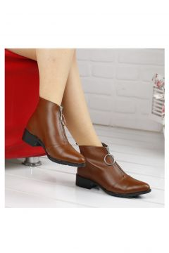 Ayakland Föz Kahverengi 722 Günlük Fermuarlı Bayan Cilt Bot Ayakkabı(110922381)
