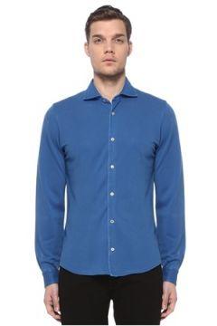 Fedeli Erkek Mavi İngiliz Yaka Gömlek Lacivert 52 IT(116665616)