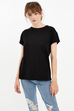 Schwarzes Basic T-Shirt(120179763)
