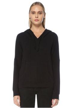 Tru Kadın Siyah Kapüşonlu Düşük Kol Sweatshirt S/M EU(124437849)