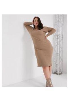 In The Style Plus x Billie Faiers - Vestito midi in maglia con scollo profondo color moka-Marrone(123069523)