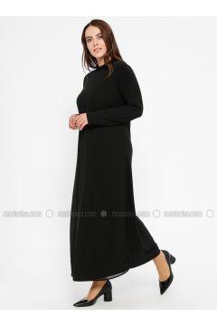 Black - Unlined - Polo neck - Plus Size Dress - Efraze(110329584)