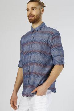T-Box Çizgili İndigo Gömlek(113956776)