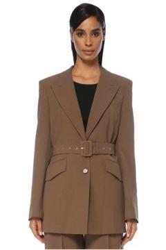Nanushka Kadın Honor Oversize Vizon Kemerli Blazer Ceket Bej S EU(120885082)