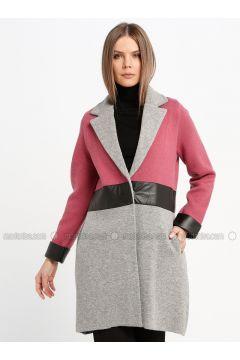 Gray - Dusty Rose - Fully Lined - Shawl Collar - Wool Blend - Jacket - Sementa(110337037)