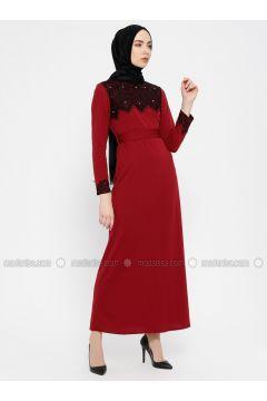 Maroon - Crew neck - Unlined - Dresses - MEKSİLA(110321777)