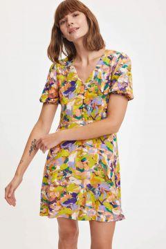 DeFacto Kadın Renkli Kısa Kollu Gömlek Yaka Viskon Elbise(125931114)