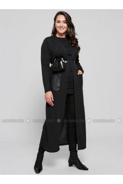 Black - Plus Size Cardigan - Alia(110314629)