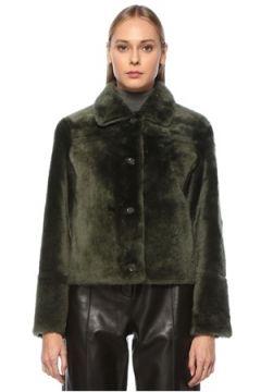 Yves Salomon Kadın Haki Polo Yaka Çift Taraflı Deri Ceket Yeşil 42 FR(124164861)