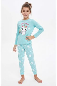 DeFacto Kız Çocuk Baskılı Pijama Takım(125925554)