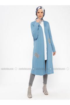 Blue - Viscose - Cardigan - Nihan(110318258)