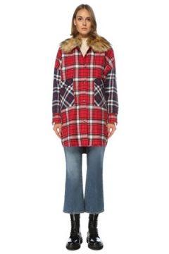 Forte Couture Kadın Kırmızı Yaka Detaylı Ekoseli Bol Ceket 42 IT(122536100)