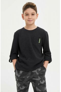 DeFacto Erkek Çocuk Cep Detaylı Uzun Kollu T-Shirt(108642073)