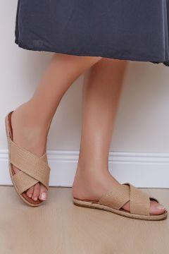 Shoes Time Kadın Bej Hasır Terlik 18y 338(118648321)