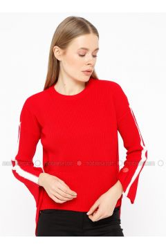 Red - White - Crew neck - Acrylic -- Knitwear - REPP(110337623)