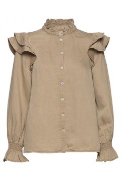 Bella Ls Shirt Bluse Langärmlig Braun SECOND FEMALE(114153893)