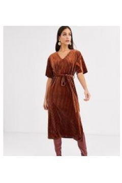 Glamorous Tall - Vestito midi in velluto a coste con allacciatura in vita-Rosso(120329444)