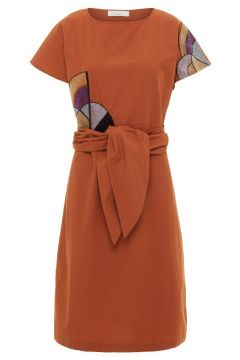 P O S T Y R Tie-belt Cotton Midi Dress Dames Oranje(114504523)