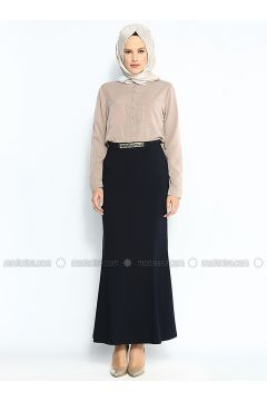 Chain Detailed Fishtail Skirt - Navy Blue - Sevilay Giyim(110343601)