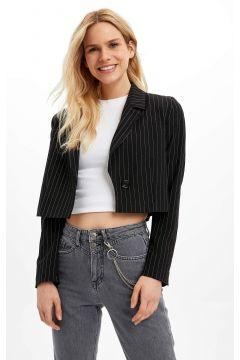 DeFacto Kadın Çizgili Düğme Detaylı Blazer Ceket(125922475)