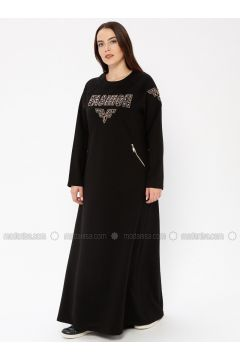 Black - Unlined - Crew neck - Plus Size Dress - Ginezza(110336803)