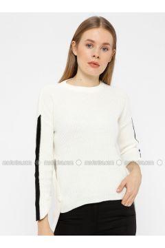 Black - White - Crew neck - Acrylic -- Knitwear - REPP(110337620)