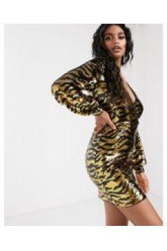 IvyRevel - Vestito corto scollo profondo a maniche lunghe con paillettes animalier oro e nero-Multicolore(120334492)