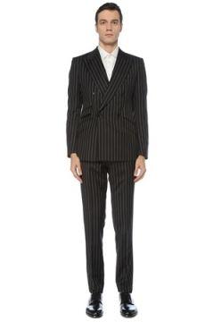 Dolce&Gabbana Erkek Antrasit Çizgi Desenli Yün Takım Elbise Gri 52 IT(127765195)