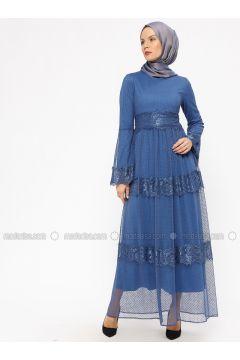 Blue - Saxe - Indigo - Fully Lined - Crew neck - Muslim Evening Dress - BÜRÜN(110314480)