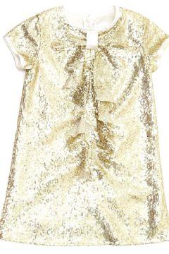 Barbie Kız Çocuk Pullu Gold Elbise(113954485)