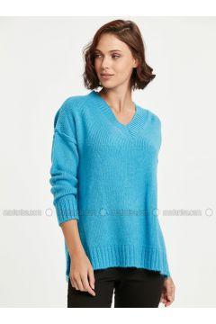 Blue - V neck Collar - Jumper - LC WAIKIKI(110314548)