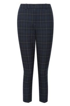 DP Petite Navy Grid Check Ankle Grazer Trousers(116685802)