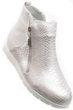 Pantofelek24.pl | Srebrne botki damskie na płaskim obcasie(112083003)